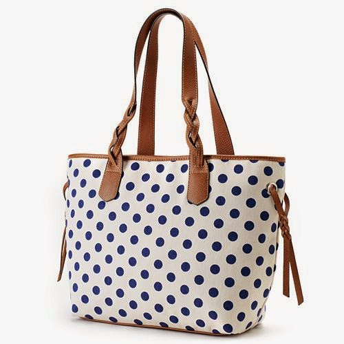 Croft And Barrow Polka Dot Tote Navy Dots I M In Love This Bag Is Super Cute Would Make The End Of School Year Just A Little More Fun
