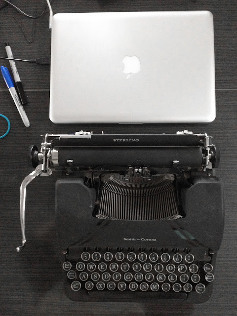 secret lentil vintage typewriter and macbook