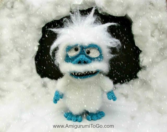 crochet white yeti monster