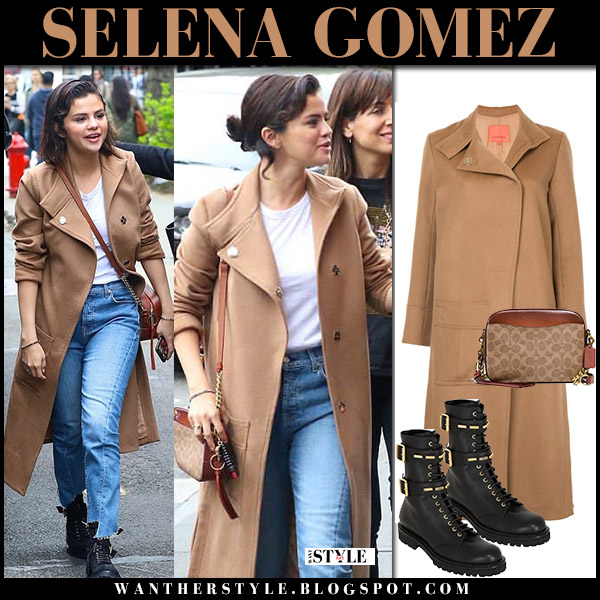 Selena Gomez in camel coat manning cartell, jeans and black boots alexandre vauthier street style may 6
