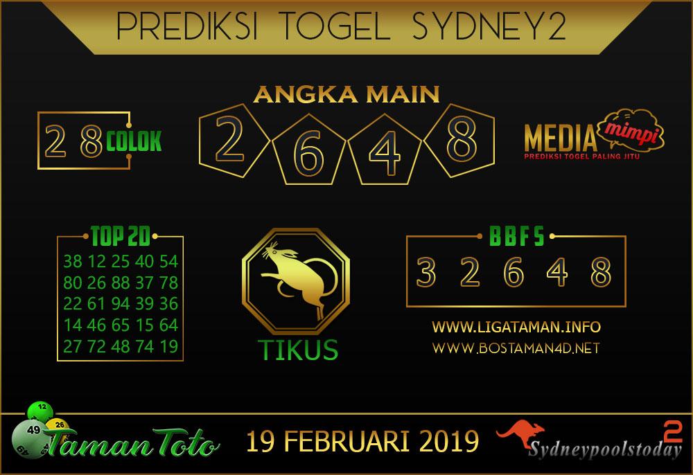 Prediksi Togel SYDNEY 2 TAMAN TOTO 19 FEBRUARI 2019