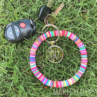 Monogrammed Beaded Key Ring from marleylilly.com