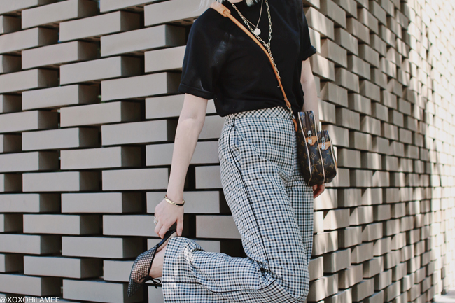 Japanese Fashion Blogger,MizuhoK,20190616OOTD, SheIn= tee, twinset= gugclub check pants, RANDA= mesh mules, Ungrid=belet, LOUIS VUITTON= bag, Chain necklace= forever21, medal necklace=bershka, and more