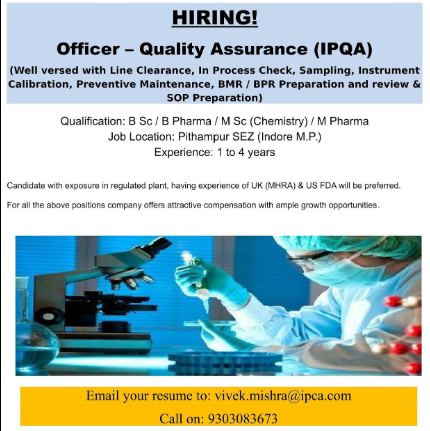 Image result for Urgent Openings @ Ipca Laboratories for QA / AMV / Production Departments