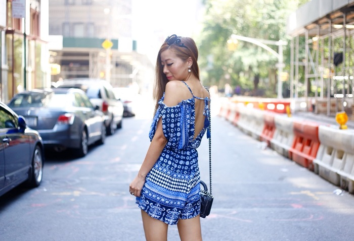 Shein blue off shoulder romper, valentino rock studs heels, kendra scott Mystic Bazaar, Kendra scott, Kendra scott ear jackets, Boy chanel bag, street style, nyc, fashion blog, summer outfit ideas, prada sunglasses, kendra scott ring
