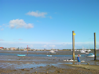 sailing club slipway with sticky mud at low tide