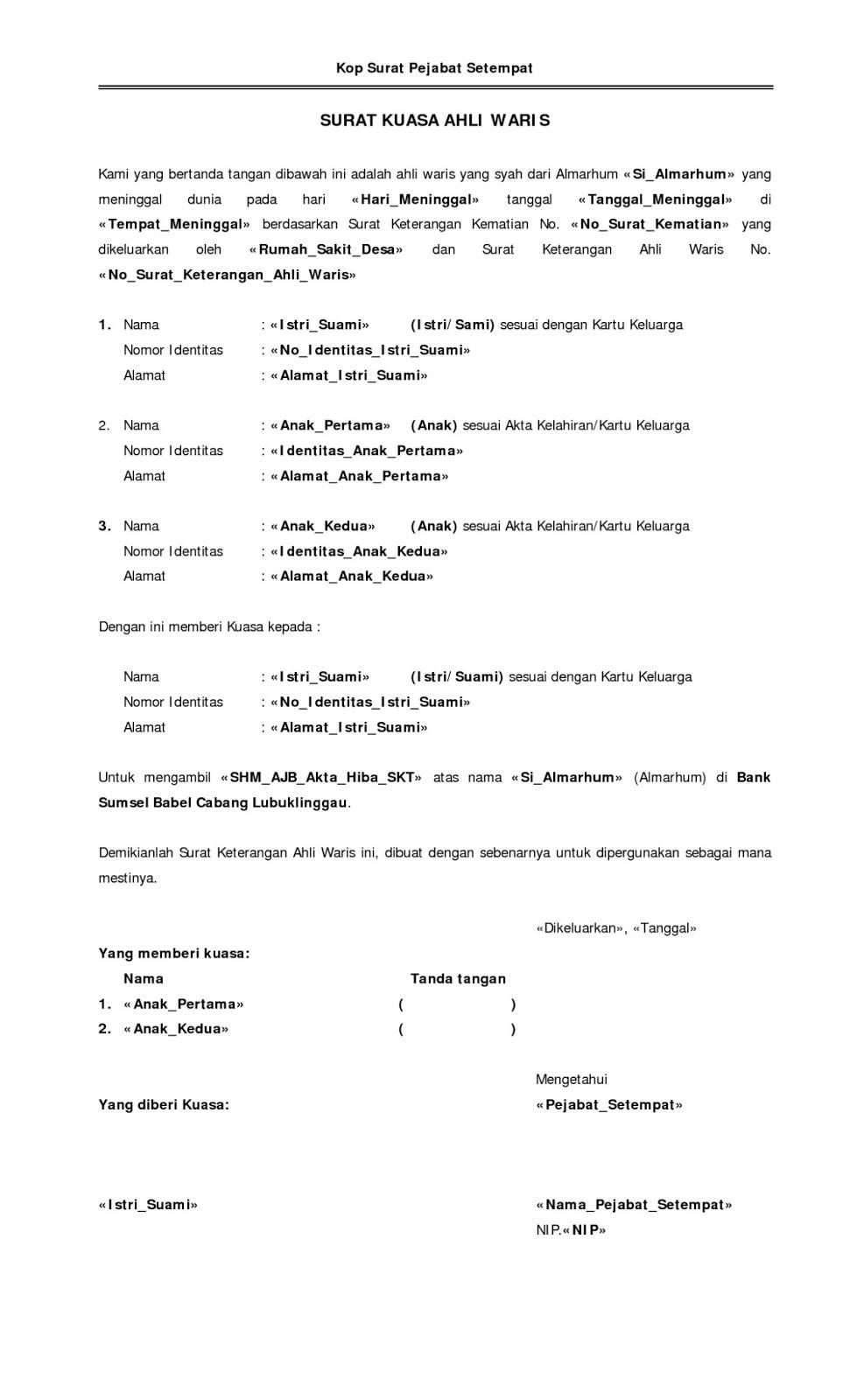 Contoh Surat Kuasa Ahli Waris Pdf Surat 25