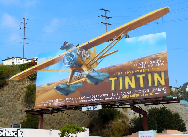 Tintin seaplane billboard