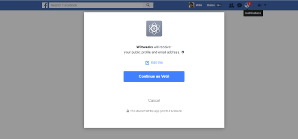 Allow user to login the page using facebook
