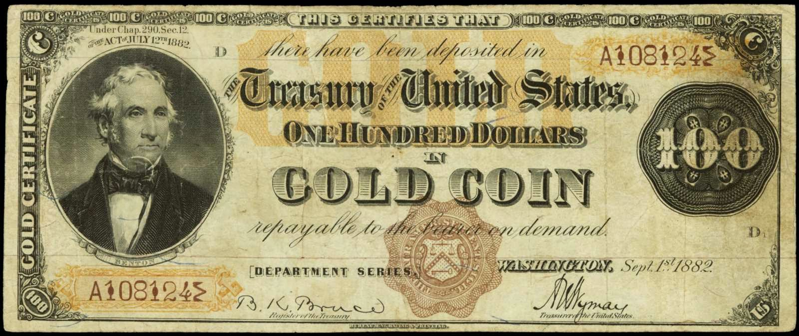 1882 One Hundred Dollar Gold Certificate World Banknotes