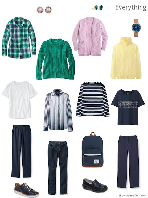 Travel Capsule wardrobe in navy and white with spring pastel accents