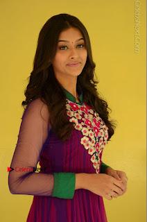 Actress Pooja Jhaveri Latest Stills in Purple Salwar Kameezt at Dwaraka Success Meet  0061.JPG