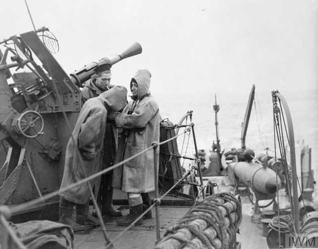 Anti-aircraft guns on HMS Beaumaris, 18 January 1942 worldwartwo.filminspector.com