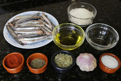 Ingredientes para boquerones en adobo