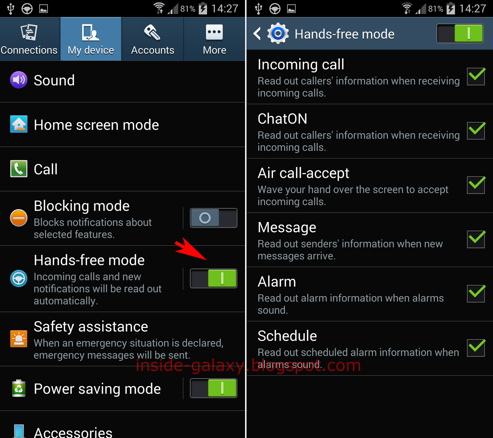 Inside Galaxy Samsung Galaxy S4 How To Enable Disable And Configure Hands Free Mode In Android 4 4 Kitkat