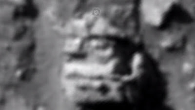 Close up look at the huge carving of a King with a Crown on Mars surface.