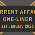 Current Affairs One-Liner: 1st January 2020