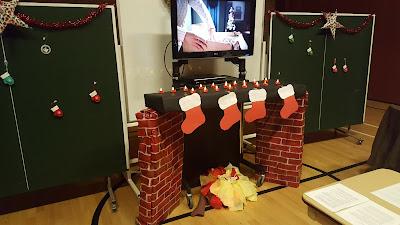 A prop fireplace