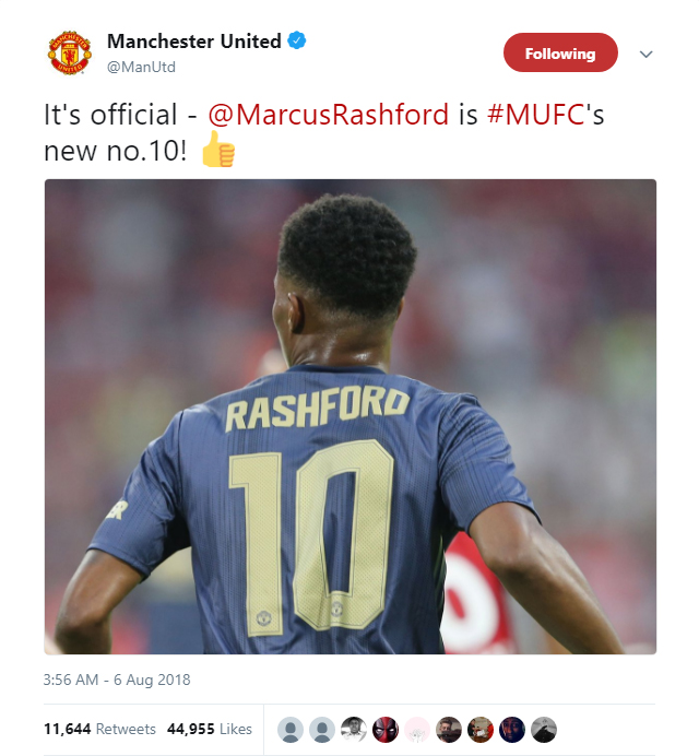 Manchester United confirm Marcus Rashford will wear the iconic No 10 jersey this season