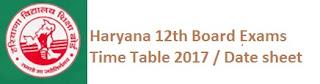 Haryana 12th Class Exams Date Sheet 2017