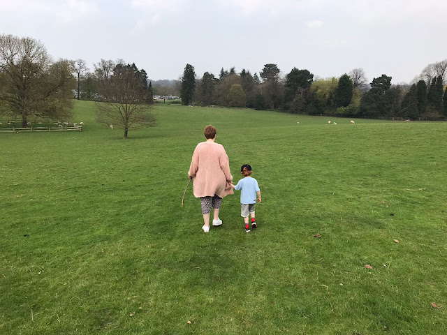 Little boy holding his Mummy's hand as he walks across a field