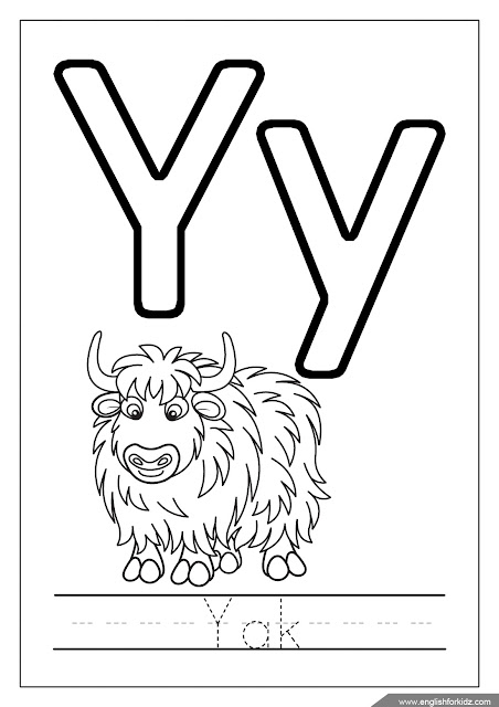 yak coloring page, alphabet coloring page, missive of the alphabet y coloring