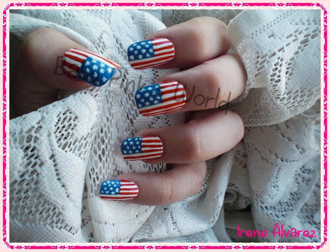 Baby Pinks World Nail Art Uñas Bandera Eeuu Usa Nails