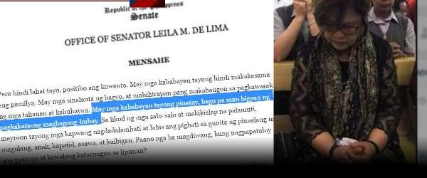 LOOK! De Lima, Ipinagdasal Ang Mga Namatay Na Drug Suspek? Senadora, Inulan Ng Batikos!