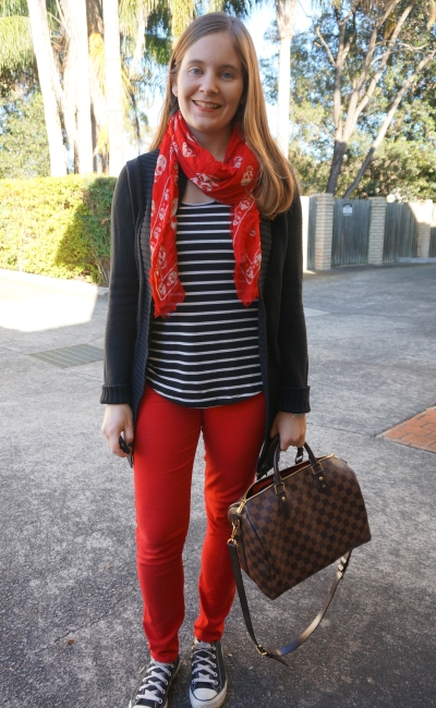 Alexander McQueen red skull scarf, stripe tank, black cardi and skinny jeans | Away From Blue