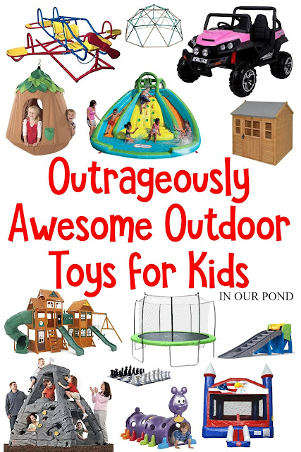 These are the best, most envy-worthy toys for the under-10 crowd.  Put any one of these toys in your backyard and impress your friends with how much you love your child.  A gift guide from In Our Pond.