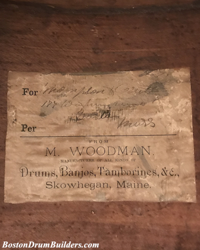 M. Woodman Drum Label