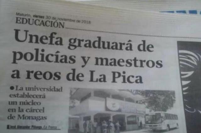 """Presos del penal de """"La Pica"""" serán graduados por la UNEFA como nuevos policías"""