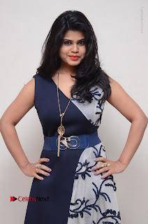 Telugu Actress Alekhya Stills in Blue Long Dress at Plus One ( 1) Audio Launch  0050.jpg