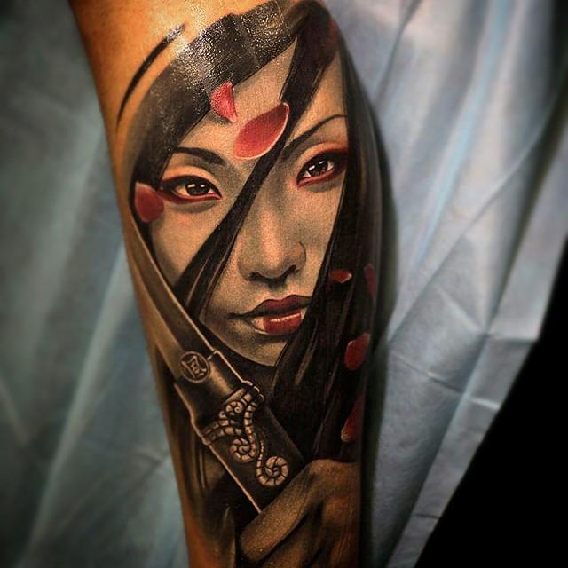 Beautiful asian samurai girl tattoo tattoo geek ideas for Asian face tattoos
