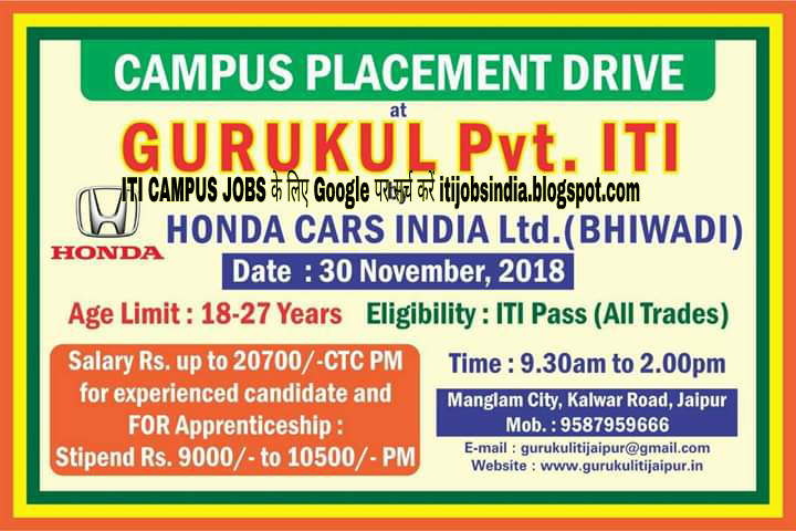 Honda Cars India Ltd Iti Campus Jobs Interview At Jaipur Rajasthan