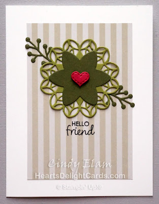 Heart's Delight Cards, Happiness Surrounds, Snowfall Thinlits, Stitched Labels Framelits, Hello Friend, FMS360, Stampin' Up!
