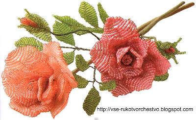 Роза параллельным плетением. Схемы