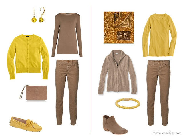 How to wear bright gold and brown together - 2 ideas