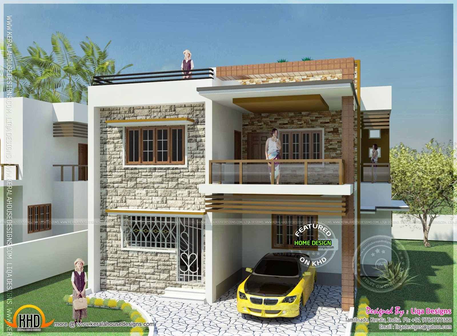 Double storied tamilnadu house design kerala home design for Bedroom designs tamilnadu