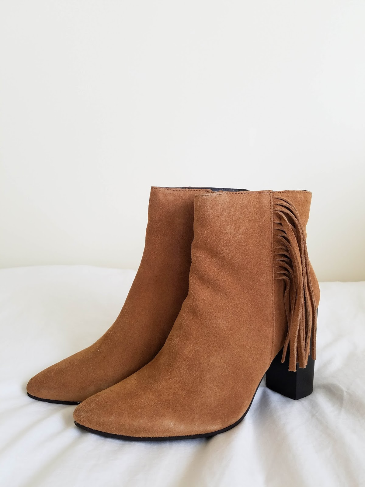 fall tassel suede booties from asos