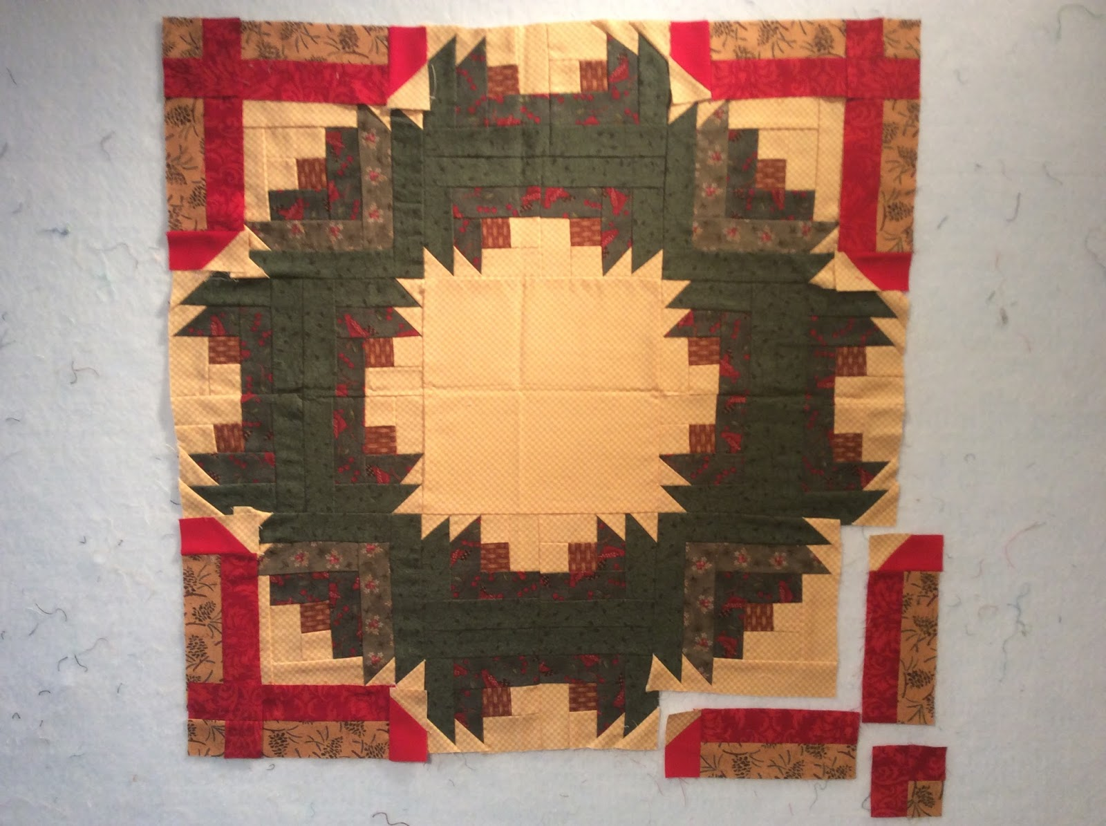 Log Cabin Christmas Quilt.Allikat Quilts Log Cabin Christmas Wreath Wall Hanging