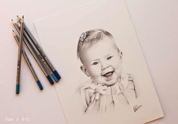 Dibujo realista a lápiz de un bebé