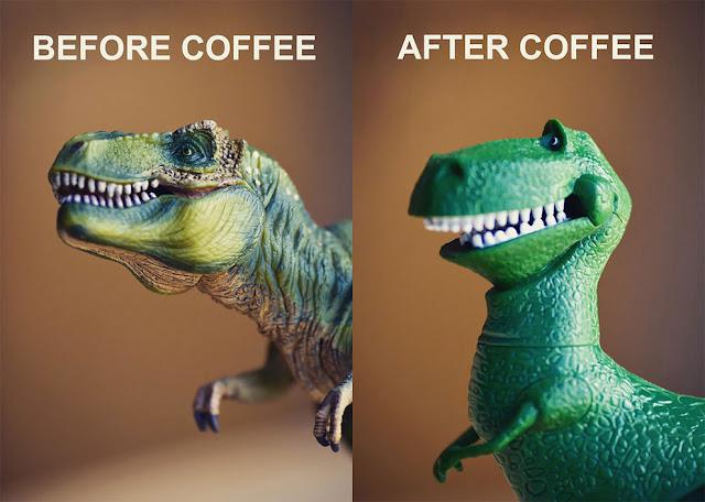 Тиранозавр до и после кофе