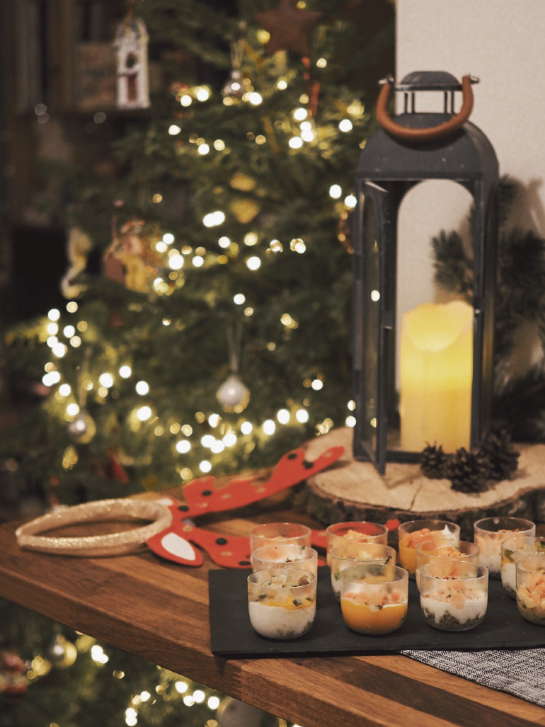 Verrines pour un dîner de fêtes de fin d'année entre amis