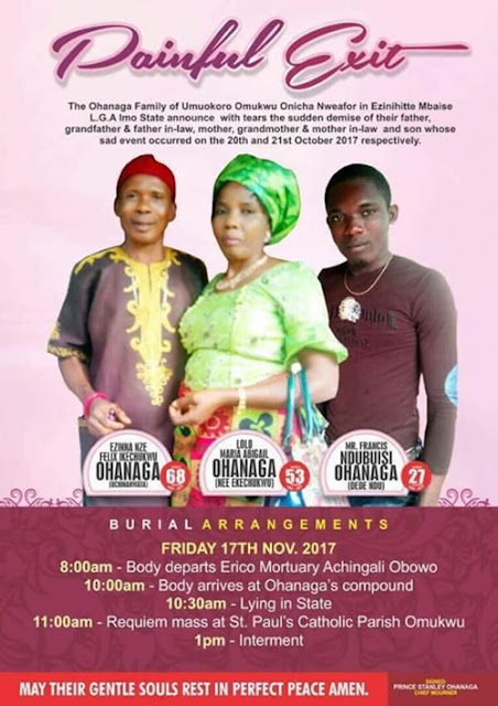 Unbelievable: Obituary Photo of a Man, His Wife and  Son Who Died After Consuming Ugba in Imo State