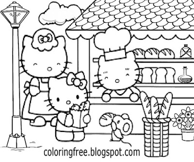 B and W simple clipart a day at the shops yummy bread cake Hello Kitty coloring pages free printable