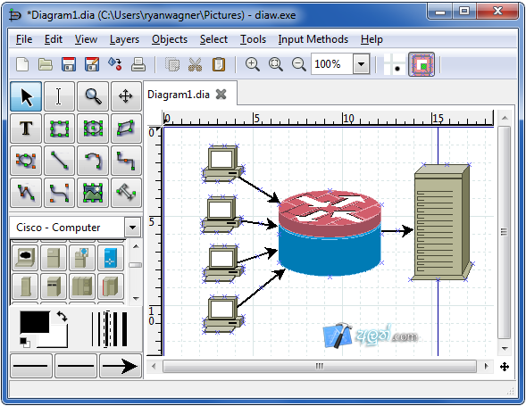 Dia diagram editor software for Online drawing editor