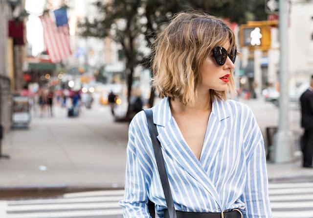 listras azul e branco moda