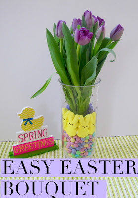 Easy Easter Bouquet Centerpiece with Peeps and M&M'S