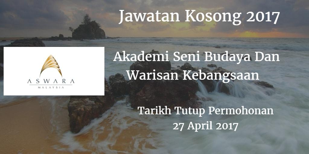 Jawatan Kosong ASWARA 27 April 2017